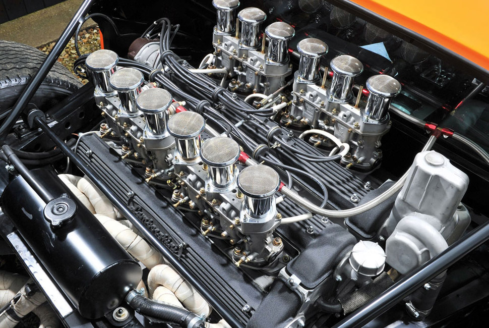 A transverse V12 sprouting Velocity stacks? It would have been a sin not to include the Miura's V12.