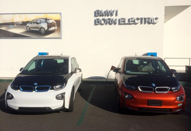 2015 BMW i3 REx charging at Crevier BMW, Santa Ana, California [photo: Jeff Pantukhoff]