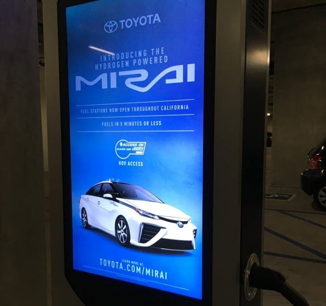 Ad for Toyota Mirai on electric-car charging station, Los Angeles, Jan 2017 [photo: Michael Thwaite]